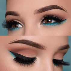 The Smokey Eye Make-up is perfect for the shape of your eyes . - Make-up - # . , The Smokey Eye Make-up is perfect for the shape of your eyes . - Make-up - Makeup Eye Looks, Cute Makeup, Smokey Eye Makeup, Eyeshadow Makeup, Gorgeous Makeup, Teal Makeup, Makeup Brushes, Perfect Makeup, Makeup Remover
