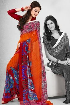 Traditional Printed Party Saree; Pumpkin Orange and Carnelian Red Faux Georgette Printed Casual and Party Saree $28