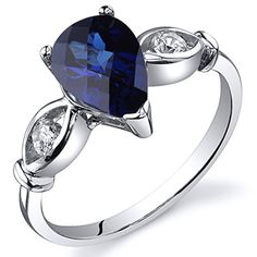 3 Stone 175 carats Created Blue Sapphire Ring in Sterling Silver Rhodium Nickel Finish Size 5 *** Want additional info? Click on the image.