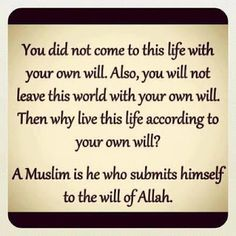 Will of Allah. :)