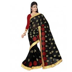 Soru Fashion Black Chiffon Saree