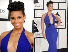 Alicia Keys at this year's Grammy Awards in McElhinney Webster (Official) Armani Gowns, Grammy Red Carpet, Stephen Webster, Alicia Keys, Jewelry Design, Designer Jewelry, Black And White, White Gold, Compliments