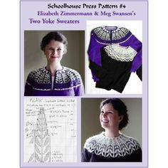 Two Yoke Sweaters - - Schoolhouse Press Patterns - Patterns Knitting Charts, Lace Knitting, Knitting Stitches, Knitting Patterns, Knit Crochet, Tejido Fair Isle, Icelandic Sweaters, Brick Stitch Earrings, Knit Basket
