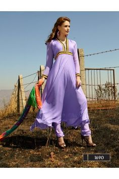 New Attractive Designer Purple Anarkali Suit With Multi Color Bandhni Dupatta