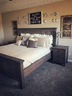 Most Beautiful Rustic Bedroom Design Ideas. You couldn't decide which one to choose between rustic bedroom designs? Are you looking for a stylish rustic bedroom design. We have put together the best rustic bedroom designs for you. Find your dream bedroom. Rustic Master Bedroom, Comfy Bedroom, Modern Bedroom Decor, Diy Bedroom, Master Bedrooms, Rustic Bedroom Furniture, Bedroom Ideas Master On A Budget, Bedroom Wall Decor Above Bed, Girls Bedroom