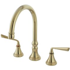 Kingston Brass KS2792ZLLS+ Silver Sage Lead Free Widespread ADA Kitchen Faucet Without Sprayer, Polished Brass $162