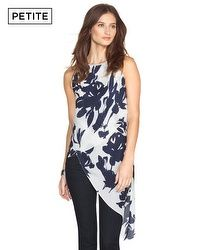 Petite Floral Asymmetric Layered Tunic