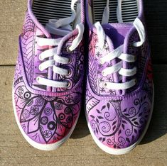 PURPLE!!!!!  Love, love, love these. Zentangle sneakers shoes sneakers zentangle by ArtworksEclectic, $42.00