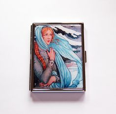 Slim Cigarette Case, Cigarette Holder, Cigarette box, Winter Sprite, Art Nouveau, Elizabeth Sonrel Illustration, Winter Nymph (6066) by KellysMagnets on Etsy