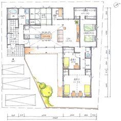 清家修吾さんはInstagramを利用しています:「. 【ボツプラン257】 ま、いいんやないかな。 . ただ、玄関ドアの真ん前に柱がくるのはどうなんやろ?ちょっとズラした方が良さげな気はする。 .…」 Japanese House, Dorm Room, Architecture Design, House Plans, Floor Plans, Flooring, How To Plan, Photo And Video, Interior Design