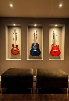 built-in guitar wall niche! Home Music Rooms, Music Studio Room, Guitar Room, Guitar Wall, Guitar Display Wall, Guitar Design, Guitar Storage, Deco Studio, Studio Design