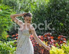 Woman in the rain royalty-free stock photo