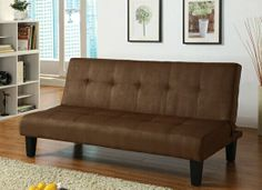"Emmet chocolate microfiber fabric upholstered adjustable sofa futon bed with tufted back and dark finish legs. This set features a microfiber fabric upholstery and a folding back to lay flat to convert to a sleep area. Measures when flat 66"" x 39"" x 16"" H. Measures when upright 66"" x 31"" x 32"" H. Some assembly required. SKU 	ACM05674"