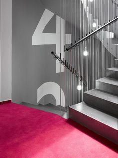 Prague metropolis was variegated with a brand new design boutique hotel called Moods, last year. In last weeks, hotel design was awarded in Top Interior Stairs, Interior Architecture, Interior Design, Design Design, Color Interior, Signage Display, Signage Design, Commercial Design, Commercial Interiors