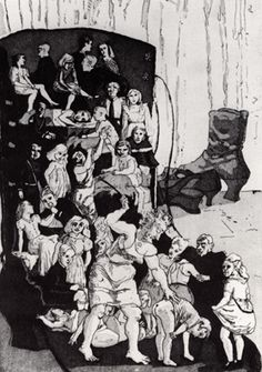 Old Woman Who Lives in a Shoe  by Paula Rego  1989    Aquatint etching. Overall size: 52cm x 38cm. Edition of 50
