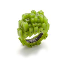 Terhi Tolvanen  Ring: Domino 2012  Silver, reconstructed jade  3,5 cm high