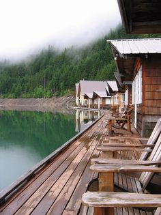 "Visitors get an up-close view of North Cascades National Park's Ross Lake (Washington State) from these ""floating"" cabins."