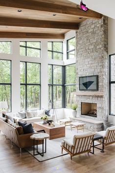 Modern Lake House: Living Room Tour Everything Studio McGee does is simply perfection!  Perhaps my favorite house yet! #modernhome #style #design<br> Tour the living room of our Modern Lake House!! Design Living Room, Home Living Room, Living Room Furniture, Rustic Furniture, Antique Furniture, Studio Living, Furniture Ideas, Furniture Design, Design Room