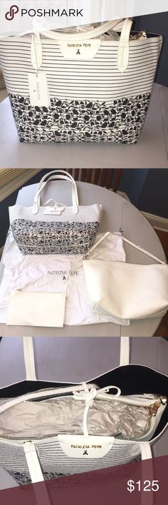 Patrizia Pepe three in one tote bag Great tote with lots of space. Comes with two more white bags inside. Brand new, never used with tag on! Patrizia Pepe Bags Totes