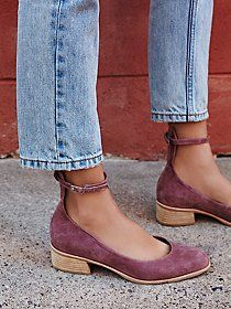 Lenox Flat | So sweet suede flat featuring adjustable straps around the ankle. Exposed zipper closure at the heel for an easy on-off. Subtle chunky block heel.