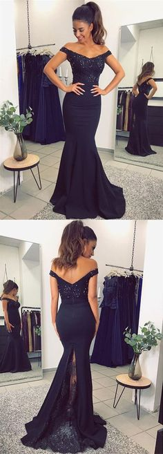 navy blue prom dress,midnight blue prom dress,off the shoulder evening gowns,lace appliques bridesmaid dresses