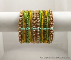 Yaalz Pearl Metal Bangle Set In Parrot Green & Mango Yellow Colors ! Silk Thread Bangles Design, Silk Bangles, Silk Thread Earrings, Bridal Bangles, Thread Jewellery, Body Jewellery, Bridal Jewelry, Indian Bangles, Bangle Set