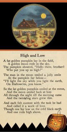 A wonderful Halloween poem! Retro Halloween, Halloween Poems, Vintage Halloween Images, Holidays Halloween, Halloween Crafts, Happy Halloween, Halloween Decorations, Halloween Tricks, Halloween Stories