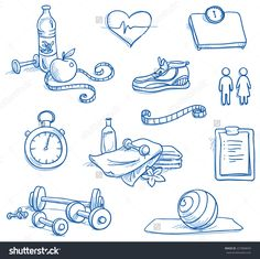 Icon set fitness, with weights, measuring tape, water, apple, running shoe, checklist, scales, stop watch, gymnastic ball, towels, heat. Hand drawn doodle vector illustration.
