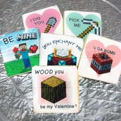 cute!! Minecraft Valentine Cookies with edible image by TiffanysSweetSpot, $33.00