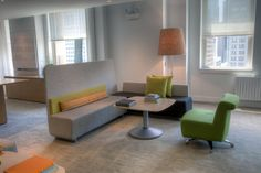 Allsteel Mind-Share bench, All-Around table, Linger chair, Gather collaborative collection, office furniture