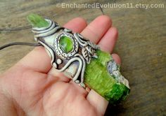 Green Tourmaline Necklace Kyanite Peridot by EnchantedEvolution11
