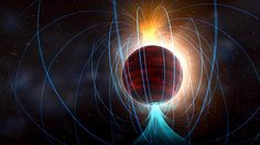 Animation of the TVLM 513-46546 magnetic field associated with solar-flare like eruptions.