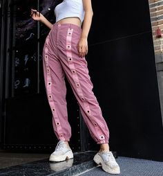 Pink Striped Patchwork Streetwear High Waist Jogger Sweatpants sold by Ciao Bella . Shop more products from Ciao Bella on Storenvy, the home of independent small businesses all over the world. Swag Outfits, Dance Outfits, Fashion Outfits, Womens Fashion, Fashion Trends, Sweatpants Outfit, Jogger Sweatpants, How To Hem Pants, Joggers Womens