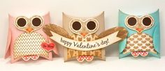 sweet set of owl pillow boxes ... eyes on heart from My Favorite things ...