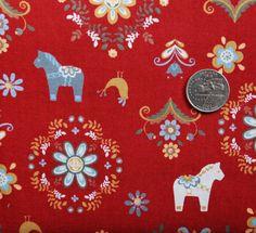 Scandinavian print on red - tiny dala horses!