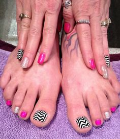 Shellac hands, polish toes chevrons
