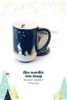 The Nordic Mug - Penguin Tea Party. Get into the holiday spirit with this festive infuser mug, printed with a penguin tea party. Got this for Christmas! Davids Tea, Promotional Design, Herbal Tea, Tea Recipes, Tea Mugs, Tea Time, Tea Party, Herbalism, Creations