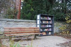 A tiny outdoor library in a park in Überlingen, Germany. [Photo via] Mini Library, Little Library, Free Library, Library Ideas, Beach Reading, Reading Room, All Over The World, Around The Worlds, Library Chair