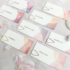Blush and pink bespoke wedding name cards with watercolour edges. Watercolor Design, Watercolor Cards, Wedding Name Cards, Diy Name Cards, Watercolor Wedding Invitations, Wedding Calligraphy, Wedding Stationary, Business Card Design, Place Settings