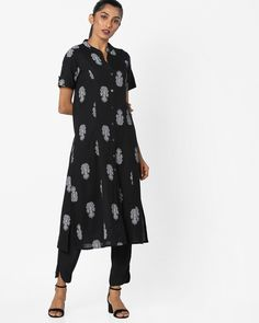 4bd9197a95d59 Buy AVAASA MIX N' MATCH Women Black Printed Straight Kurta with Mandarin  Collar | AJIO