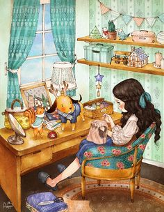 """❥Deja Mallory❥ """"The Diary of a Forest Girl"""" by Aeppol. #cute #illustration #aeppol"""