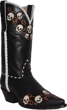 Details about Skull & Bone Inlay Corral Men's Black Crackle ...