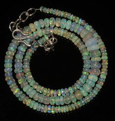 """50CRT 3-6.5 MM17"""" NATURAL ETHIOPIAN  WELO FIRE OPAL RONDELLE BEADS NACKLACE 9028"""