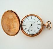 Antique Waltham Pocket Watch P.S. Bartlett 15 Jewels 14k Gold Fill Hunter Case Roman Numerals Face from Antik Avenue on Ruby Lane