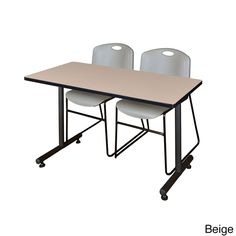 Regency Seating Kobe Grey 42-inch x 24-inch Training Table and 2 Zeng Stack Chairs