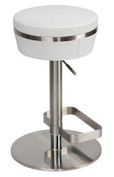 Cortesi Home Athena Premium Adjustable Backless Round Barstool in Brushed Stainless Steel with Heavy Solid Base, Snow White Extra Tall Bar Stools, Luxury Home Furniture, Brushed Stainless Steel, Backless, Base, Furniture Ideas, Home Decor, Decoration Home, Room Decor