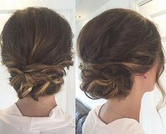 40 Quick And Easy Updos For Medium Hair Updos For Medium Hair - Casual Twisted Low Bun Casual Updos For Medium Hair, Updo Casual, Hairstyles For Medium Length Hair Easy, Up Dos For Medium Hair, Medium Hair Styles, Easy Hairstyles, Curly Hair Styles, Hair Medium, Holiday Hairstyles
