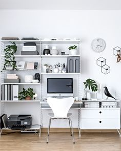 Home Office - Scandinavian Workspace | www.my-full-house.com | String Furniture shelving system, Fritz Hansen Series 7 Chair by Arne Jacobsen, green life in everyday space