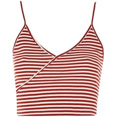 Topshop Stripe Crop Top (205 MXN) ❤ liked on Polyvore featuring tops, crop tops, shirts, red, striped tops, surplice top, red crop top, white crop tops and white shirt