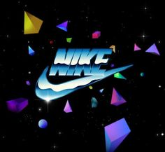 Nike logo from the. New Retro Wave, Retro Waves, New Wave, 90s Design, Logo Design, Nike Logo, 80s Neon, Holography, Nike Wallpaper
